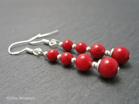 Graduated Red Coral Stack & Sterling Silver Elegant Drop Earrings
